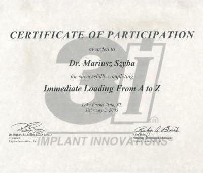 certificate of participation Mariusz Szyba
