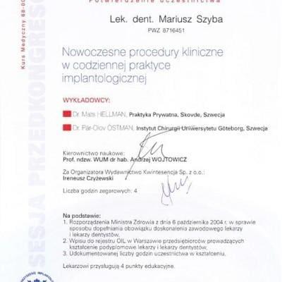 Nowoczesne procedury kliniczne w codziennej praktyce implantologicznej - certyfikat Mariusz Szyba