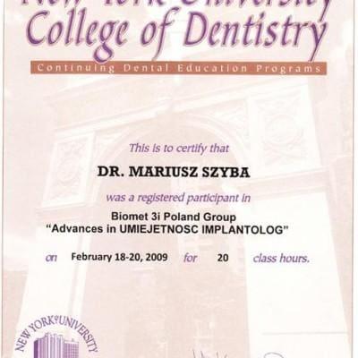 New York University College of Dentistry Certyfikat Mariusz Szyba