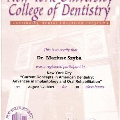 Certyfikat New York University Dentistry Mariusz Szyba