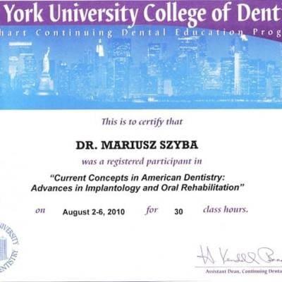 Certyfikat dla Mariusza Szyby