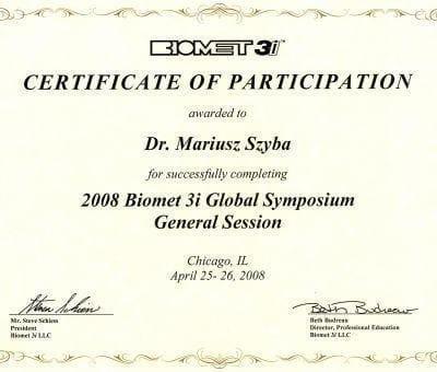 certyfikat M. Szyba