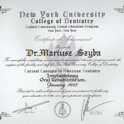 certyfikat Mariusz Szyba