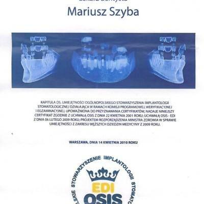 certyfikat z implantologii Mariusz Szyba